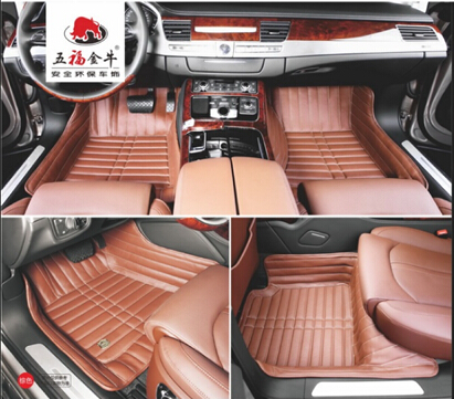 Car Carpet 3D Embroidery Synthetic Leather XPE Mat