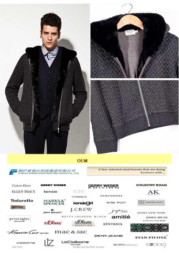 Wool Acrylic Hooded Coat Knit Man Sweater