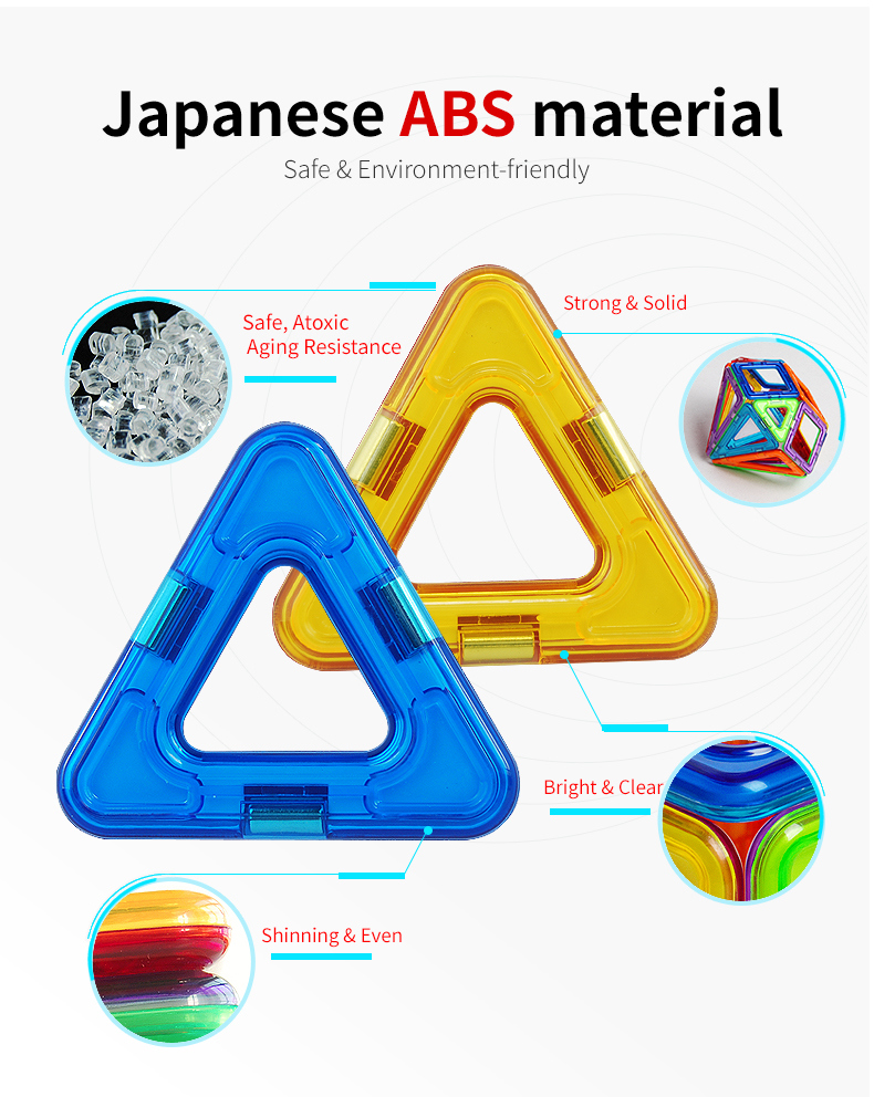 62PCS 3D Educational Magnetic Baby Toys with Rare Earth Magnet and ABS