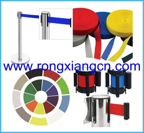 Golden Stainless Steel Crowd Barrier Post with Adjustable Belt