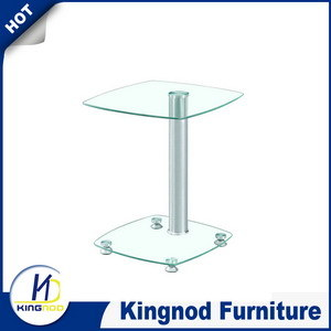 Clear Glass Stainless Steel Coffee Table