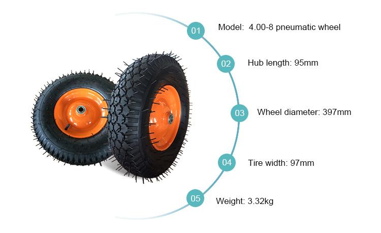 Hand Trolley 4.00-8 Pneumatic Wheel for Wheelbarrow