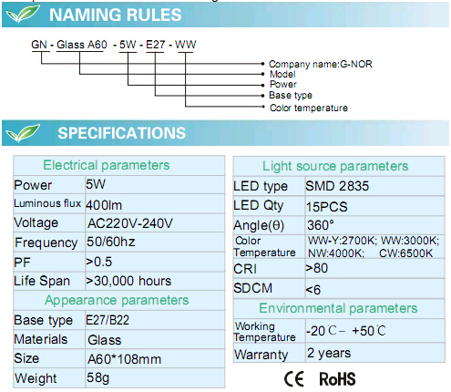 A60 Save Energy E27 White 5W Glass LED Globe Light