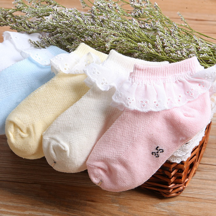 Very Fashion Lace Colorful Girl Cotton Socks