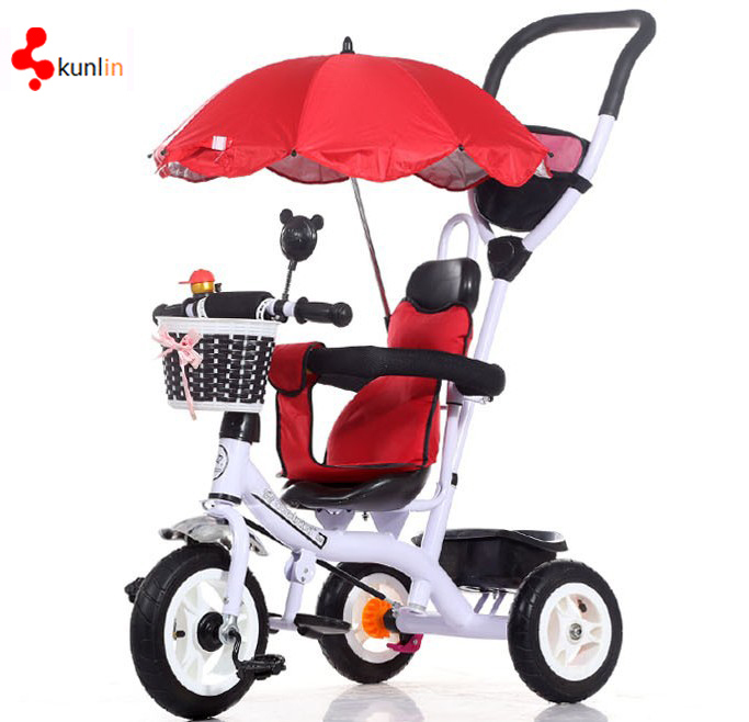 Safety 4 in 1 Baby Tricycle, Rotatable Seat Coffee Colour Baby Tricycle, Steel Baby Trike EVA Tire Baby Tricycle