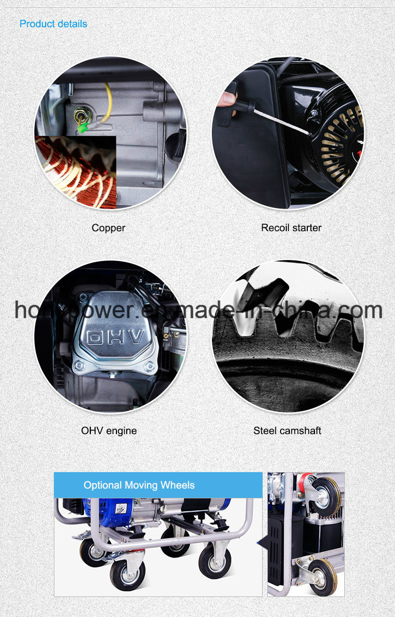 Honypower (China) Hy2500e 2kw 2kVA New Design Copper Wire Portable Power Electric Gasoline Generator