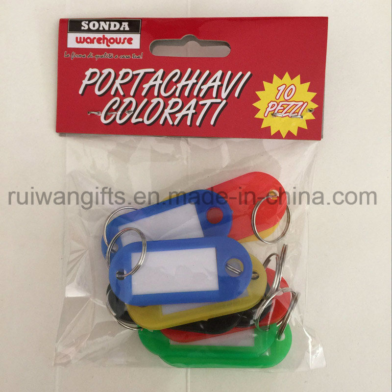 Wholesale Name Label Tag, Plastic Key Tag with Split Keyring