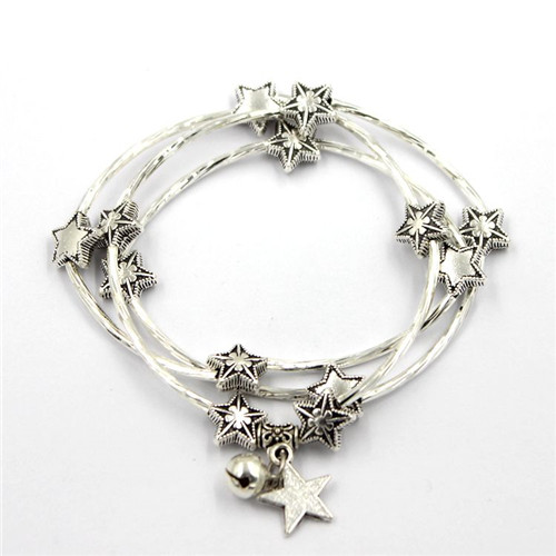 Silver Wire Bracelet with Star Buckles for Charm