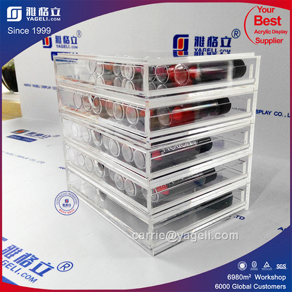 Ygl-102 High Quality 6 Drawers Clear Acrylic Makeup Organizer