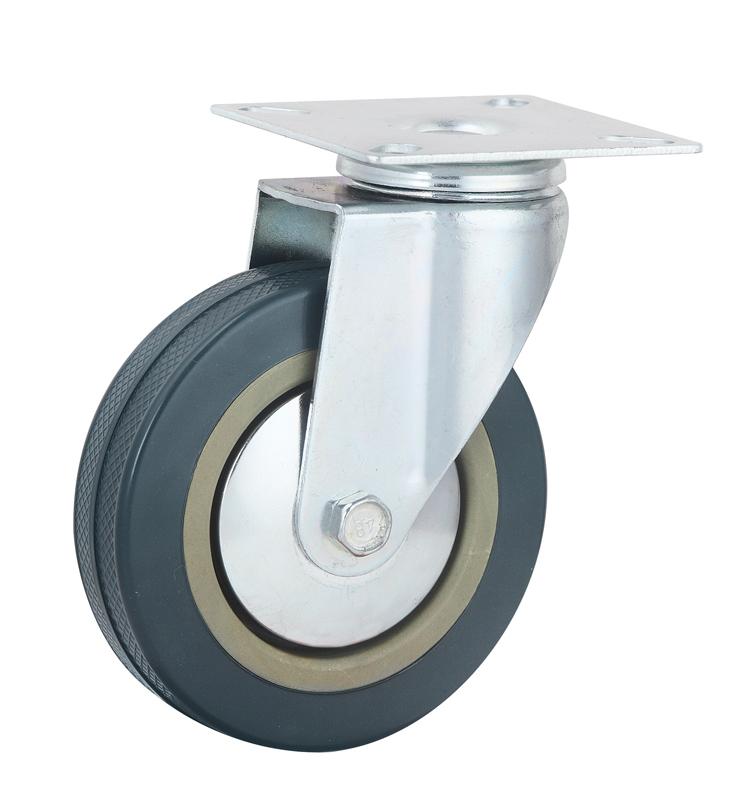Gray Industrial Light Duty Swivel Rubber Caster