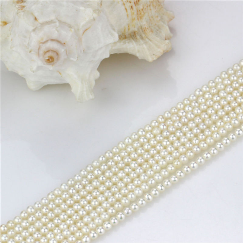 White Loose Pearl Strand 3-4mm AA Perfect Round White Loose Pearl Strand
