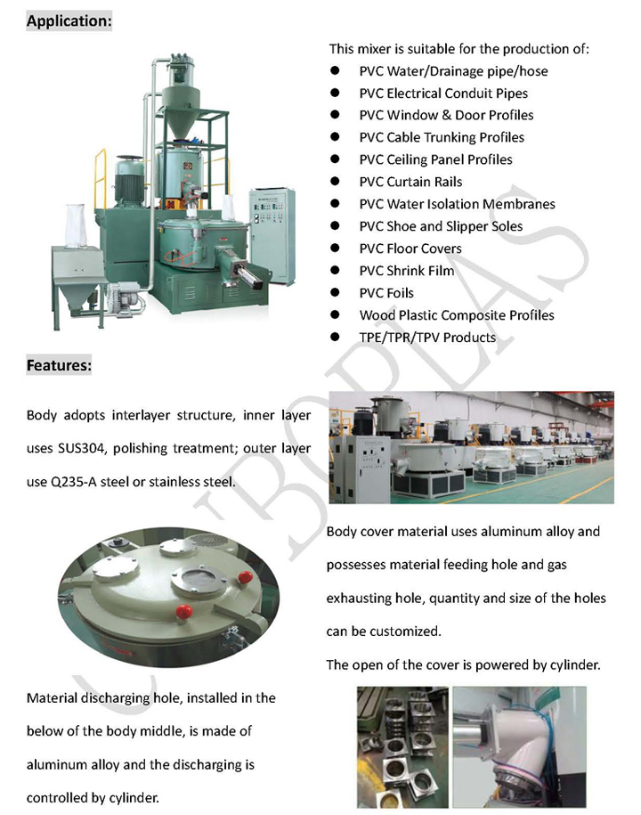 Plastic Machine/High Speed Heating Cooling Mixer for PVC Pipe/Profile/Granules/Sheet/Board/Roof