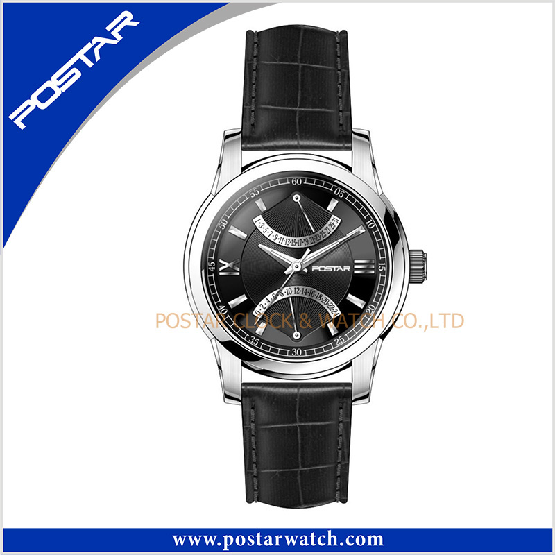 Fashion Stainless Steel Watch with Genuine Leather Band and Swiss Quality