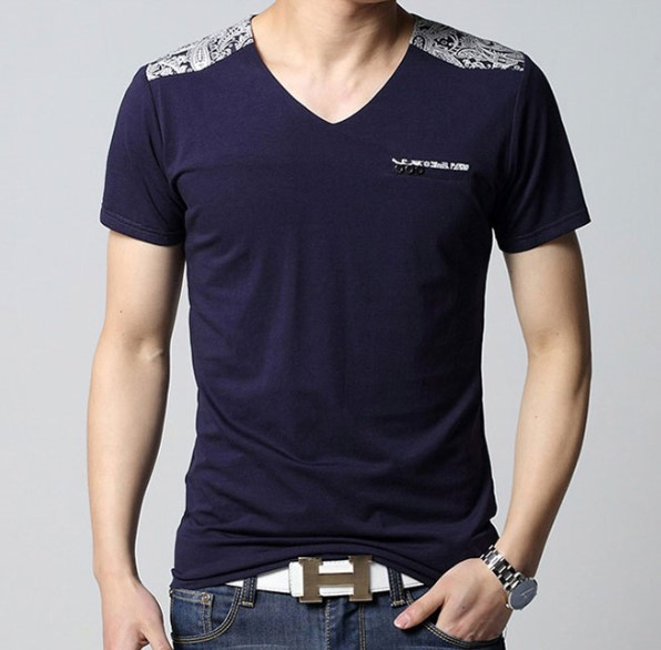 Fashion V Neck Fitted Top Quality Cotton Wholesale Men T Shirt