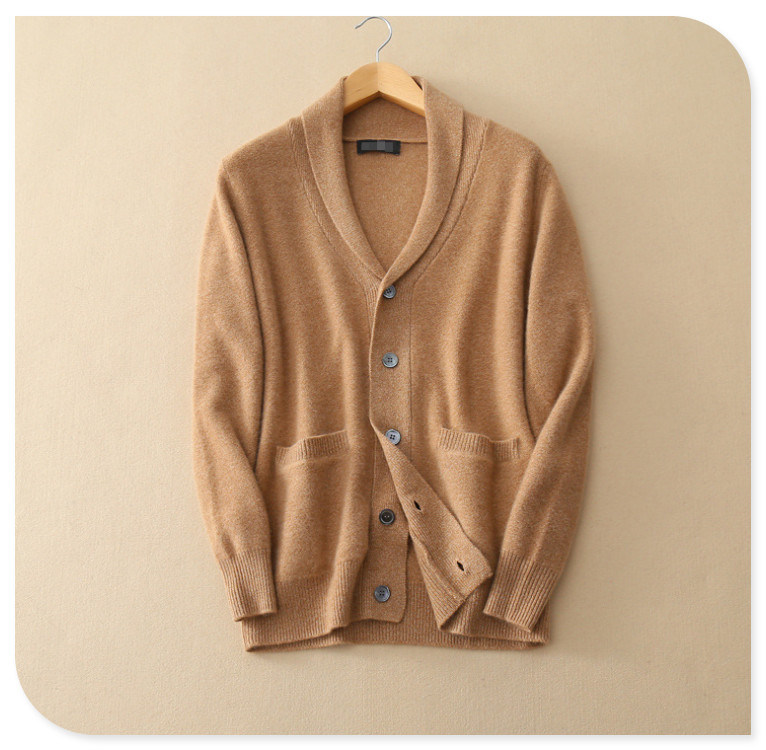 Men's Pure Cashmere Knitting Cardigan for Winter Thick Sweater Coat with Insert Pocket V Neck Single Breasted