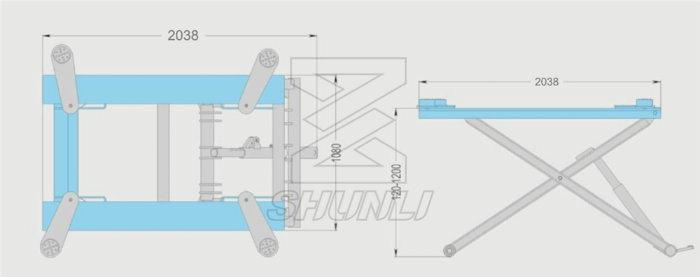 3000kg Moveable Hydraulic Car Hoist