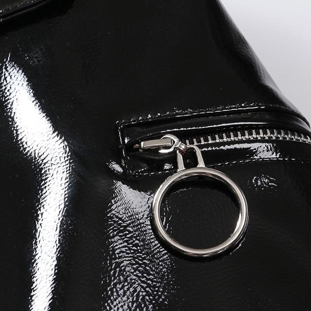 Women PU Leather Short Skirt