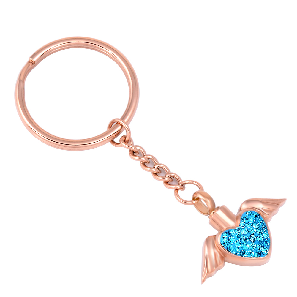 Angel Wings & Love Heart Diamond Cremation Ash Urn Key Chain