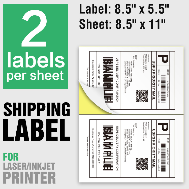 Half sheet shipping label