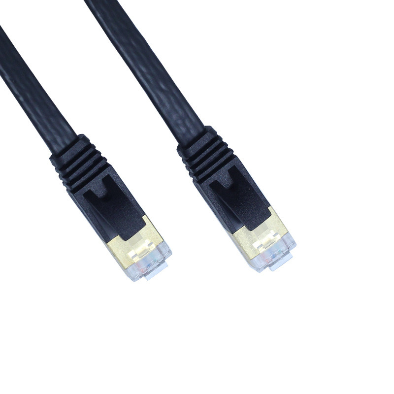 Gold Plated 10gbps Speed Flat Shielded Cat7 Ethernet RJ45 Network Cable 8p8c