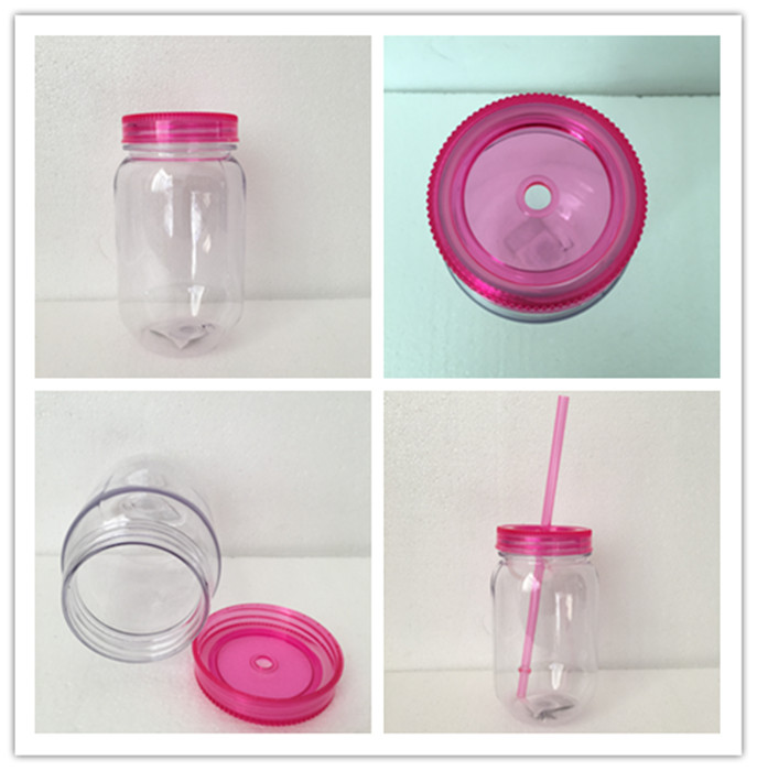 530ml Double Wall Plastic Jar Mason Jar