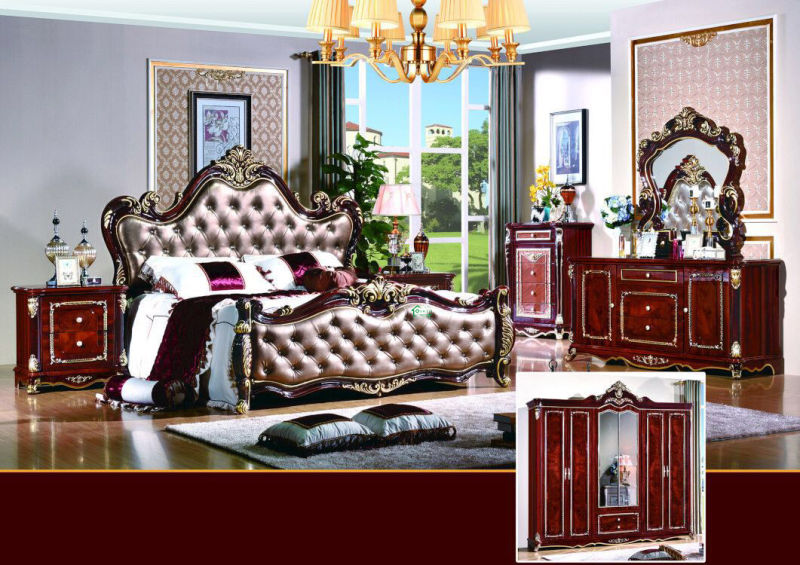 Bedroom Furniture Sets with Antique Bed and Wardrobe (W813B)