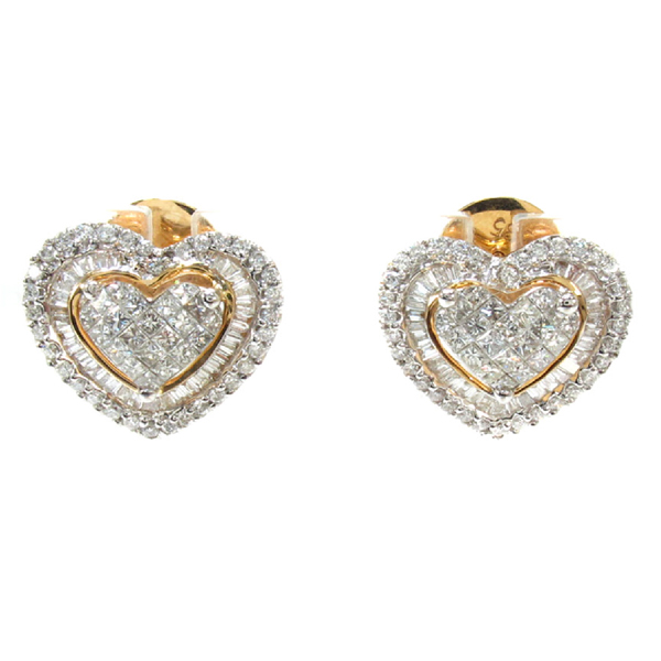 Heart Earrings 925 Silver Jewelry 18k Gold Plated