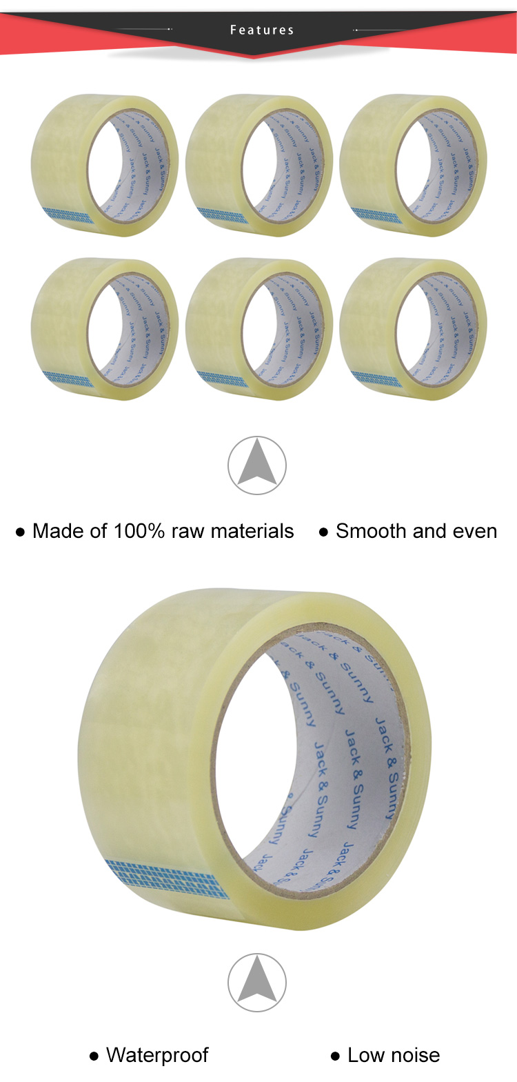 Low Noise Sealing Clear Packing Tape