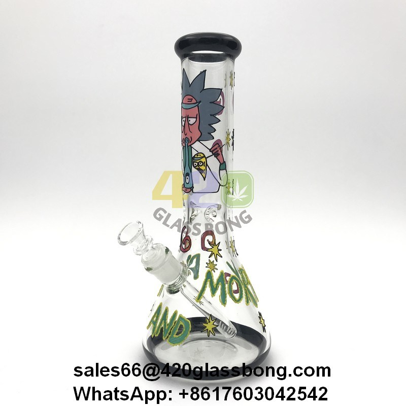 3D Rick and Morty 7mm Thickness Heady Glass Beaker/Waterpipe/Pipe Glass Crafts