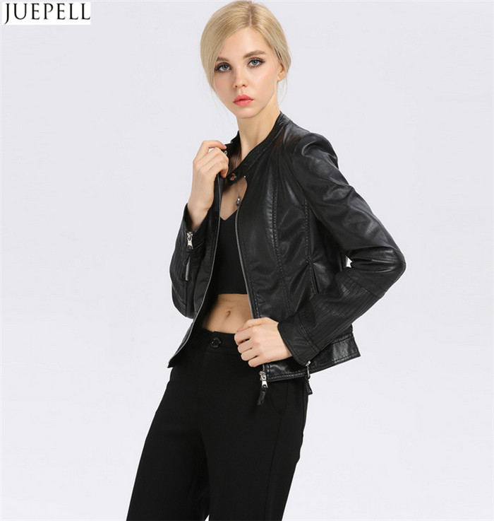 New Fashion Women's Small Leather Collar Slim Leather Jacket Short Section of European and American Fashion Wholesale Jackets