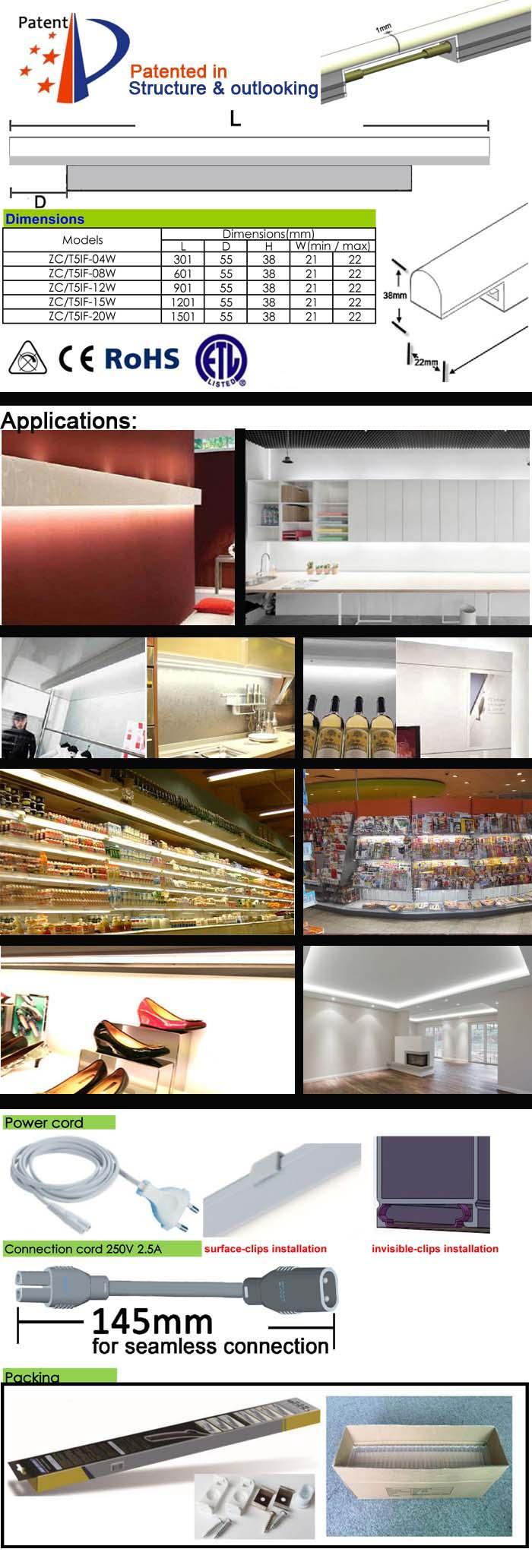 Linkable LED Cabinet Light T5 for Universal Furniture