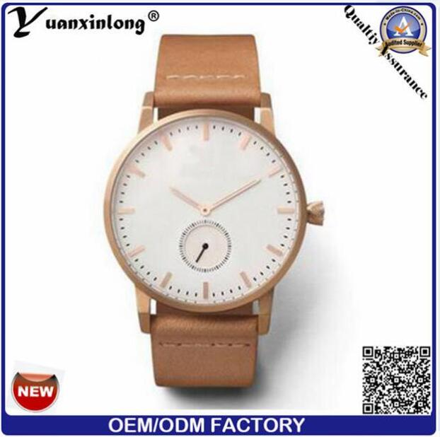 Yxl-018 2016 Hot Sale Small Hand Watch Women and Man Geunine Leather Straps Simple Watch