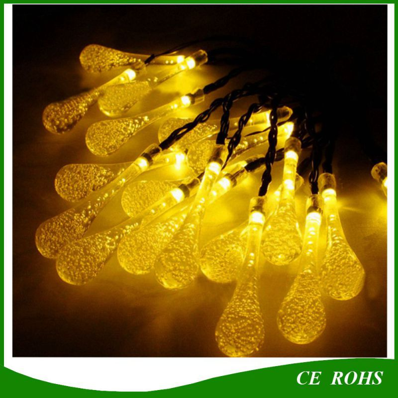 20/30 LED Solar Powered Water Drop String Lights LED Fairy Light for Wedding Christmas Party Festival Outdoor Indoor Decoration