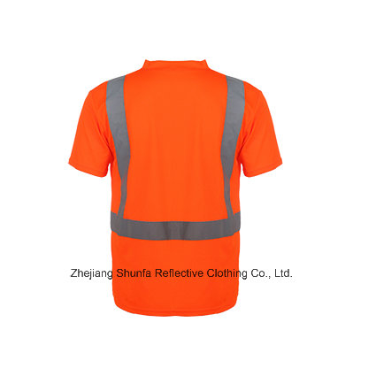 Safety Reflective Short Sleeve Polo Shirt with V Neck