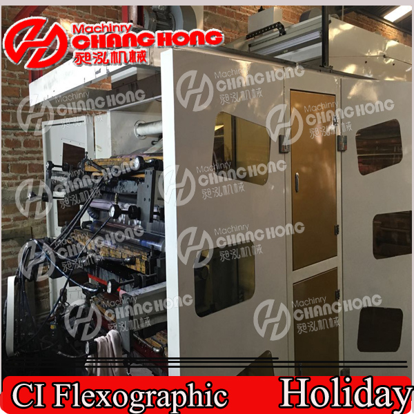 Double Winder Flexo Printing Machine/Six Color Plastic Film Flexographic Printing Machine