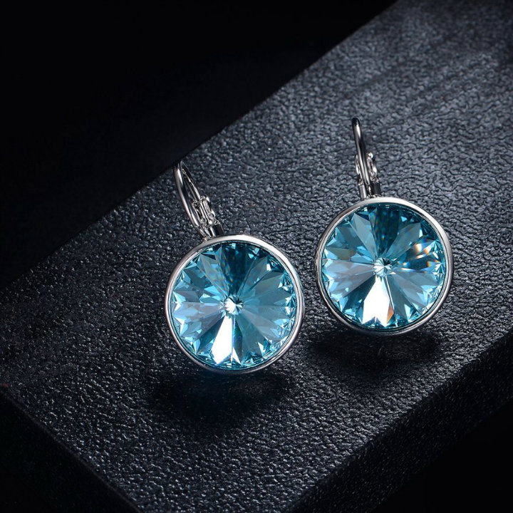 Latest Gold Blue Stone Crystal Jewellery Stud Woman Earring