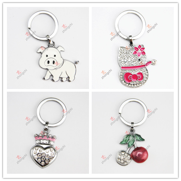 Promotional Cheap Alloy Royal Crown Heart Shaped Metal Key Ring