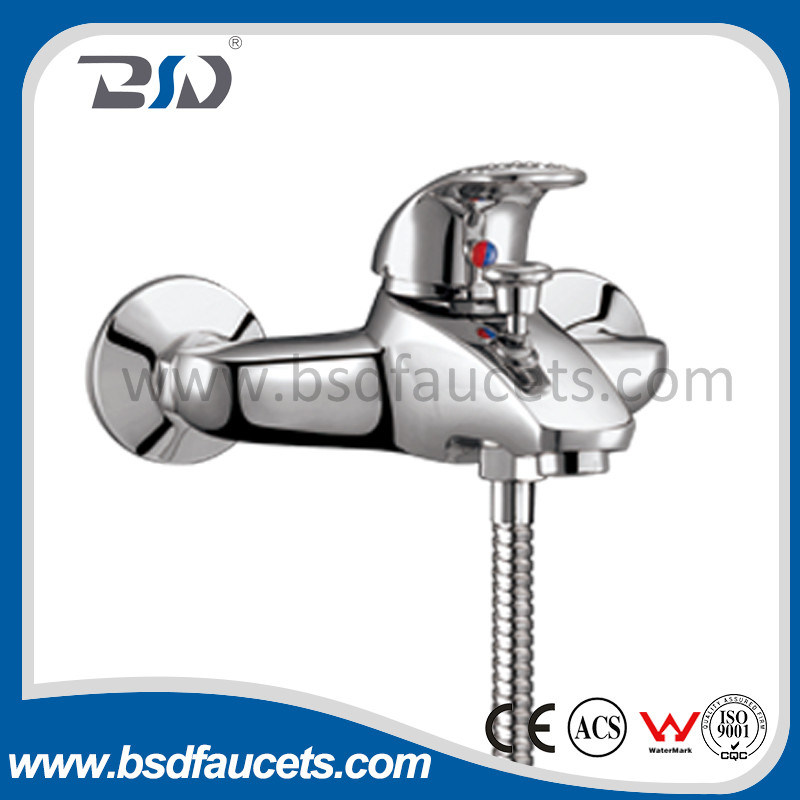 Single Lever Brass Chrome Shower Bath Mixer Faucet Wall Mounted