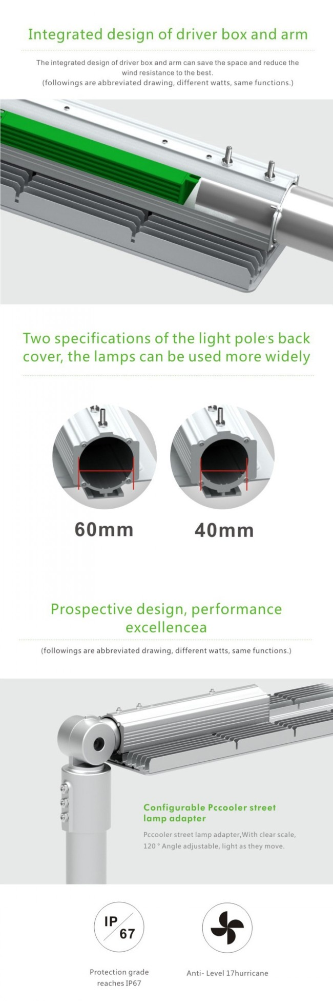 High Brigtness PC Lampshade Outdoor Waterproof IP65 120W LED Road Light LED Street Light