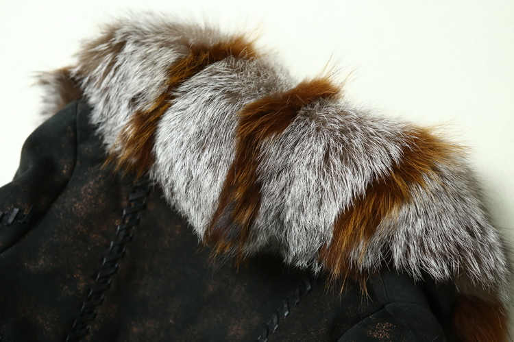 2016 New Design Lady's Genuine Leather and Fur Coat Long Style Fox Fur
