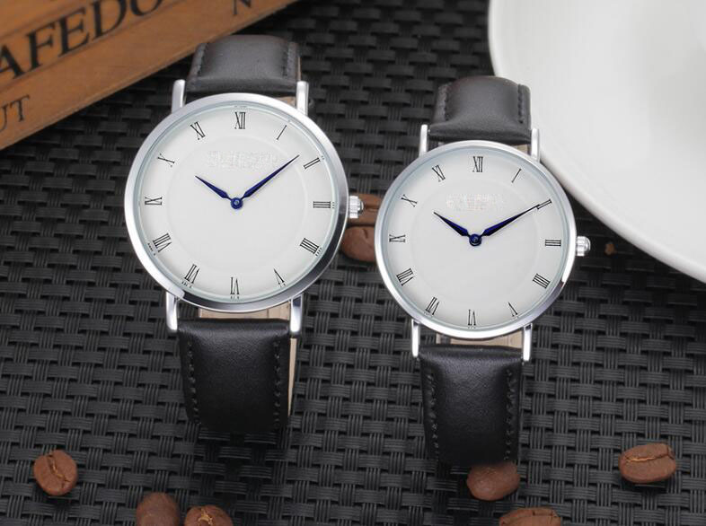 Yxl-568 Fashion Design Thin Black Leather Watch Strap Mens Watches Sex Thin Strap Mens Watch