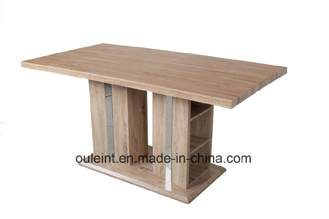 Painted Glass Top High Glossy Painted MDF Dining Table with Stainless Base