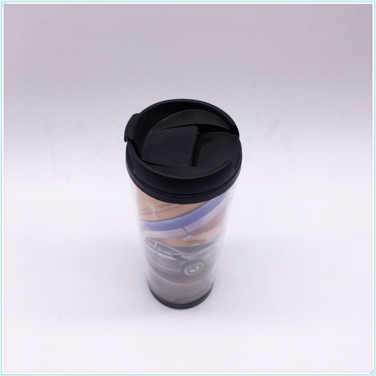 Newest Promotional Plastic Reusable Food Safe Coffee Cup with Lid and Paper Insert