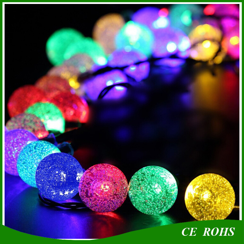 Decorative Solar Lawn Lights Colorful Outdoor 50 LED Colorful Bubble Solar String Light for Christmas Party Wedding