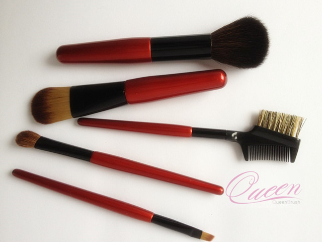 5PCS Red Nylon Hair Makeup Tools Cosmetic Brush