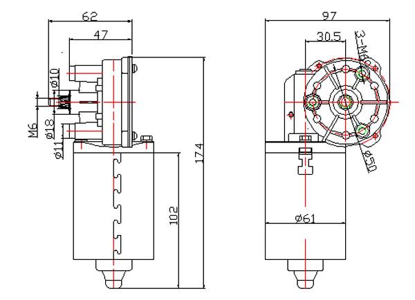 50W Windshield Wiper Motor for Bus