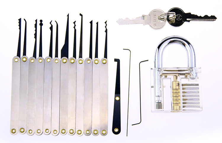 Transparent Practice Padlock with 15PCS Metal Handle Lockpicking Tools (Combo 3)