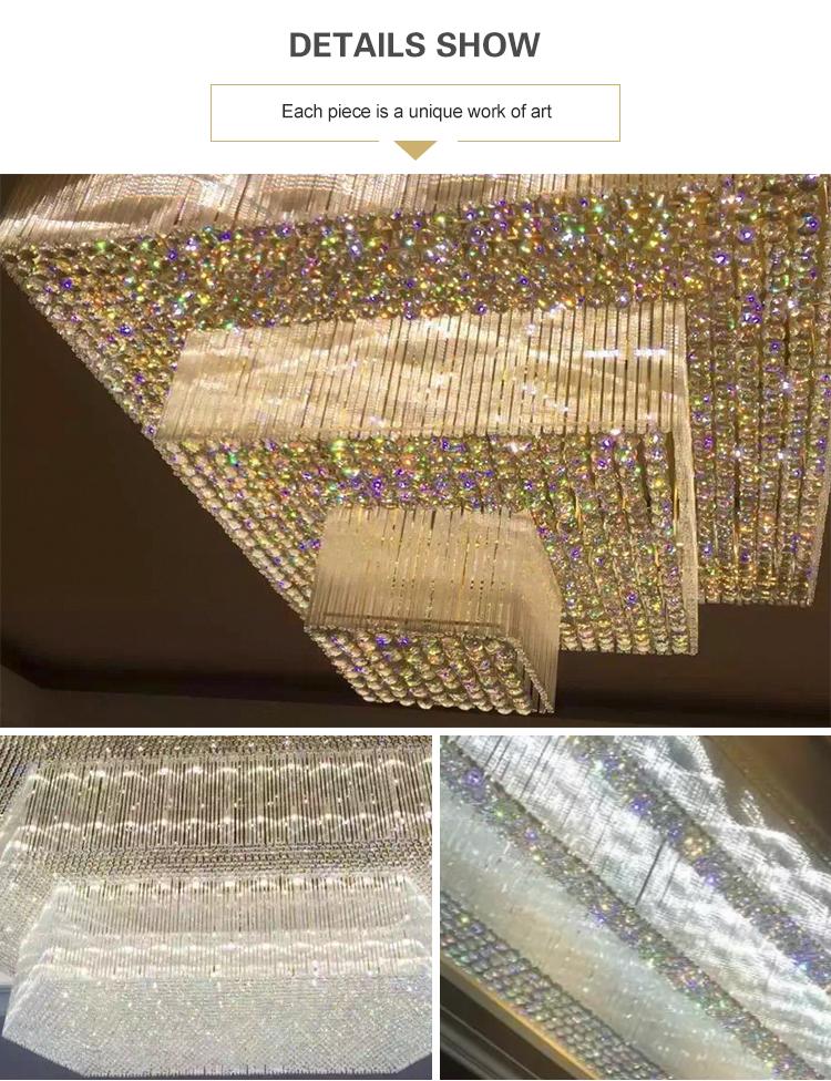 Lámpara de techo modificada para requisitos particulares tamaño grande del oro del restaurante del hotel de lujo