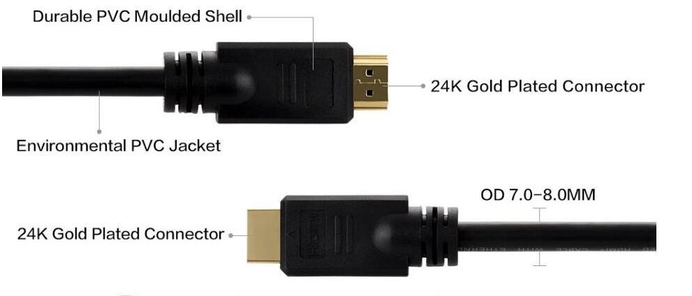 3 Feet Display Port / HDMI to HDMI Cable, 3D Audio/Video Converter