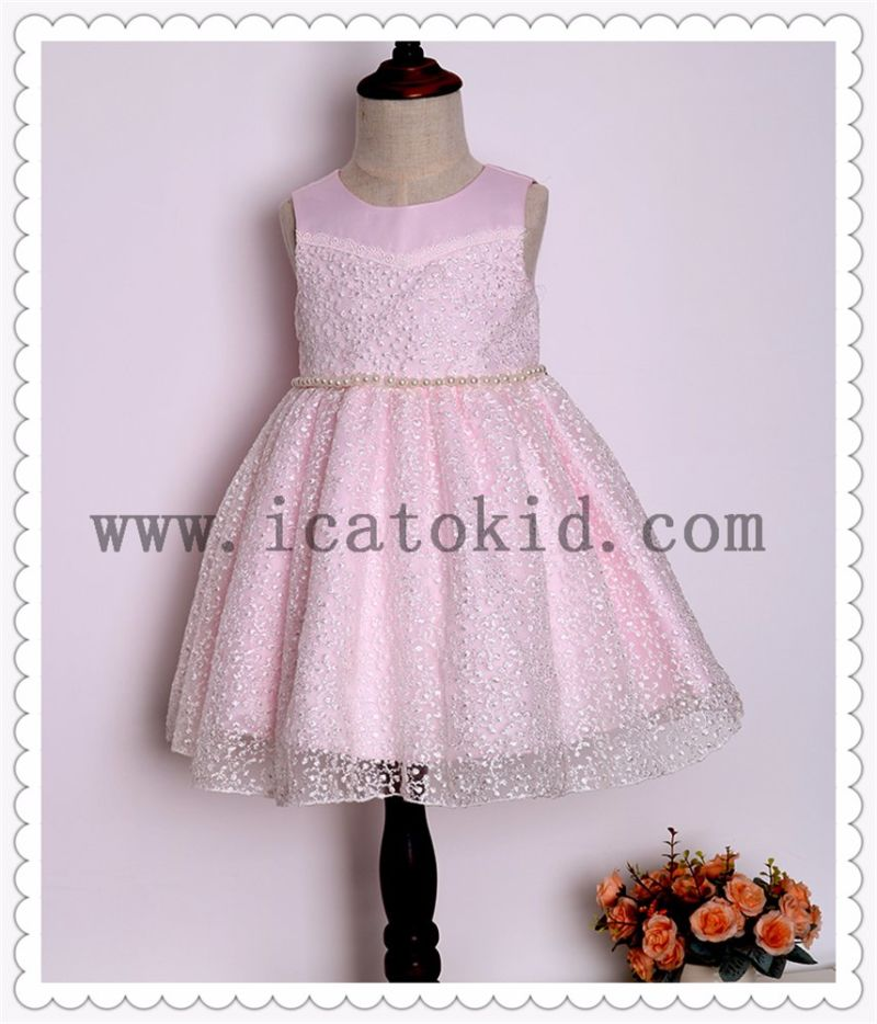 Pearl Waist Chain Flower Girl Short Dress for Evening Dress
